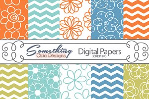 Flower Chevron Digital Backgrounds