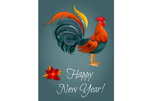 Greeting card with red rooster