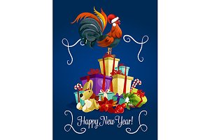 New Year holiday greeting card