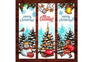 Christmas winter holidays banners