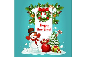 Snowman with gifts