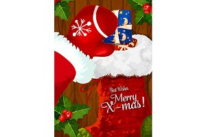 Santa Claus putting gift box