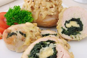Chicken roulade stuffed with spinach
