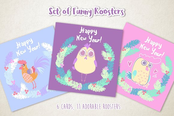 Set of funny Roosters