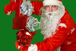 Santa Claus with gifts. Christmas