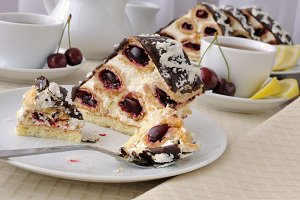 Cake with cherry chocolate with coco