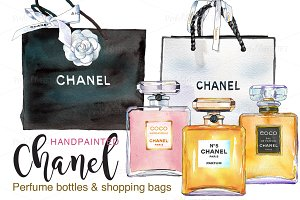 Chanel perfume & shopping bags