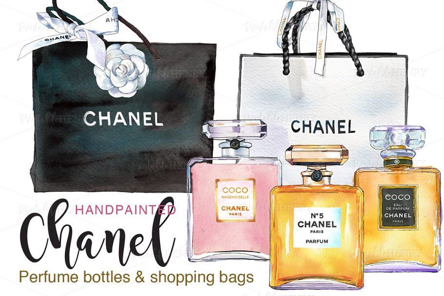 7cab6456df8d Chanel perfume   shopping bags ~ Illustrations ~ Creative Market