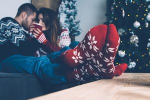 Young couple enjoying Christmas