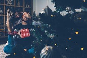 Giving of Christmas gift box
