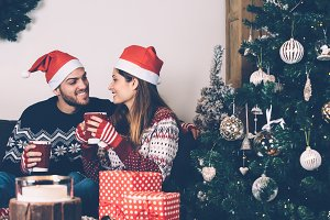 Couple having good time on Christmas