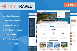 Sky Travel PSD Website Template