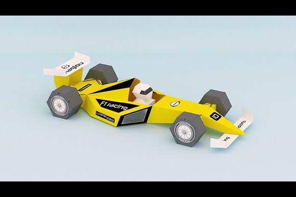 diy formula one car 3d papercraft templates creative market