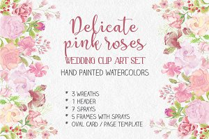Wedding clip art set: blush roses