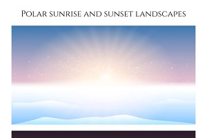 Polar sunrise and sunset landscape