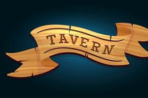 Tavern wooden signboard