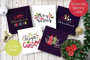 5 greeting cards for Merry Christmas