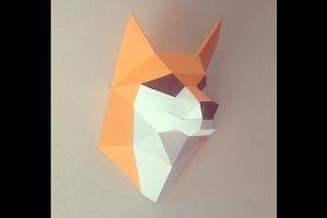 DIY Fox Head Trophy - 3d papercraft