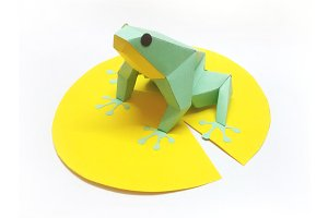 DIY Frog on Leaf - 3d papercraft