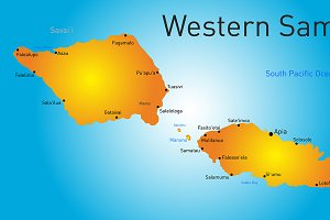 Vector color western samoa map