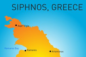 Vector color map of Siphnos, Greece