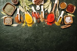 Variety of spices and herbs.