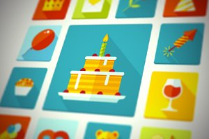 Flat Vector Birthday Party Icons