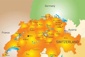 vector color map of Switzerland