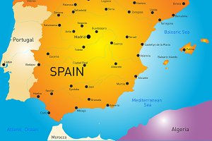 Vector color map of Spain