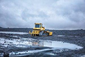 Yellow bulldozer in Iceland
