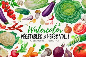 Watercolor Vegetables, Herbs