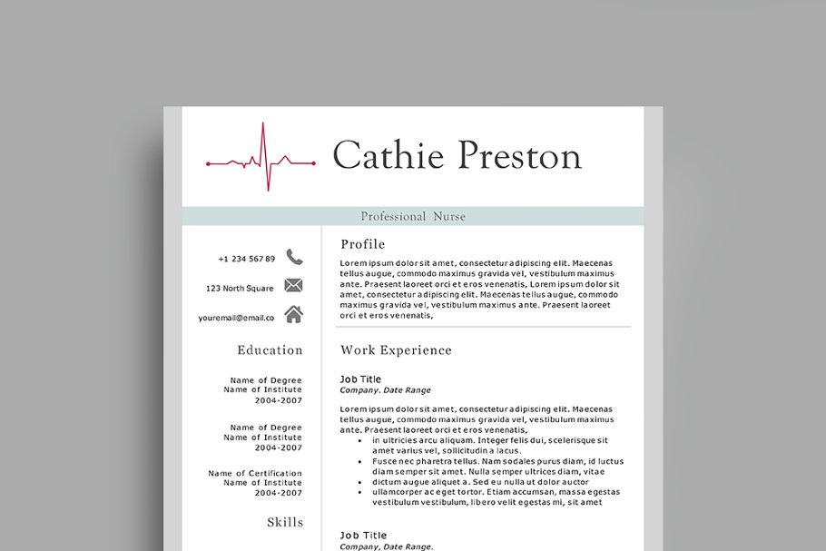 Professional Nurse Resume Template ~ Resume Templates ...