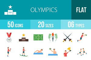 50 Olympics Flat Multicolor Icons