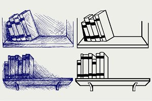 Books on a shelf SVG