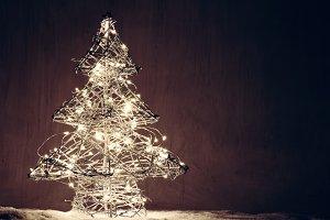 Christmas tree shape made of lights.