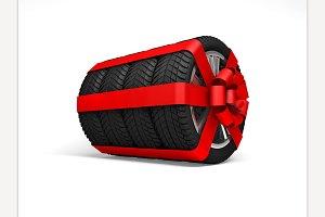 Tires gift. 3d rendering