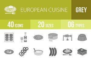 40 European Cuisine Greyscale Icons