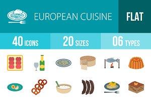 40 Cuisine Flat Multicolor Icons