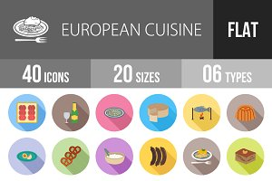 40 Cuisine Flat Shadowed Icons