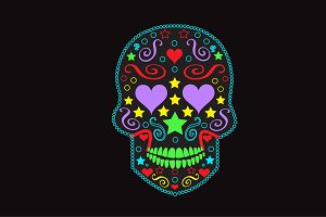 Skull icon with heart eyes neon