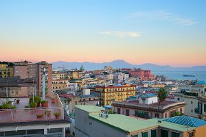 Skyline of Naples at twilight, Italy