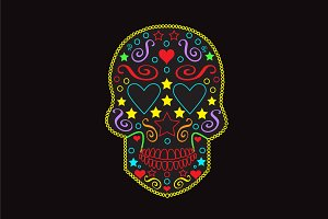 Skull icon with heart eyes neon 2