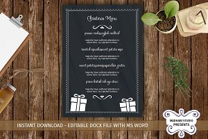 Chalk Christmas Menu Template
