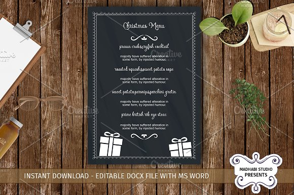 Chalk christmas menu template flyer templates creative market chalk christmas menu template flyers pronofoot35fo Images