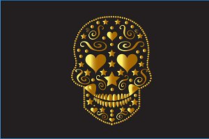 Skull icon gold color with hearts