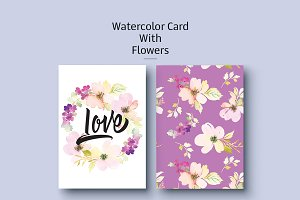 Watercolor card with flowers