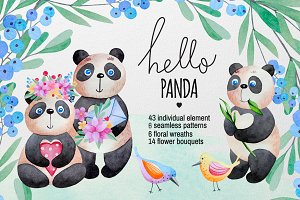 Watercolor Panda and flowers