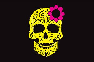 Skull icon with pink flower