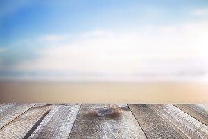 Wooden table and sea landscape