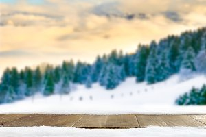 Winter landscape and wooden table